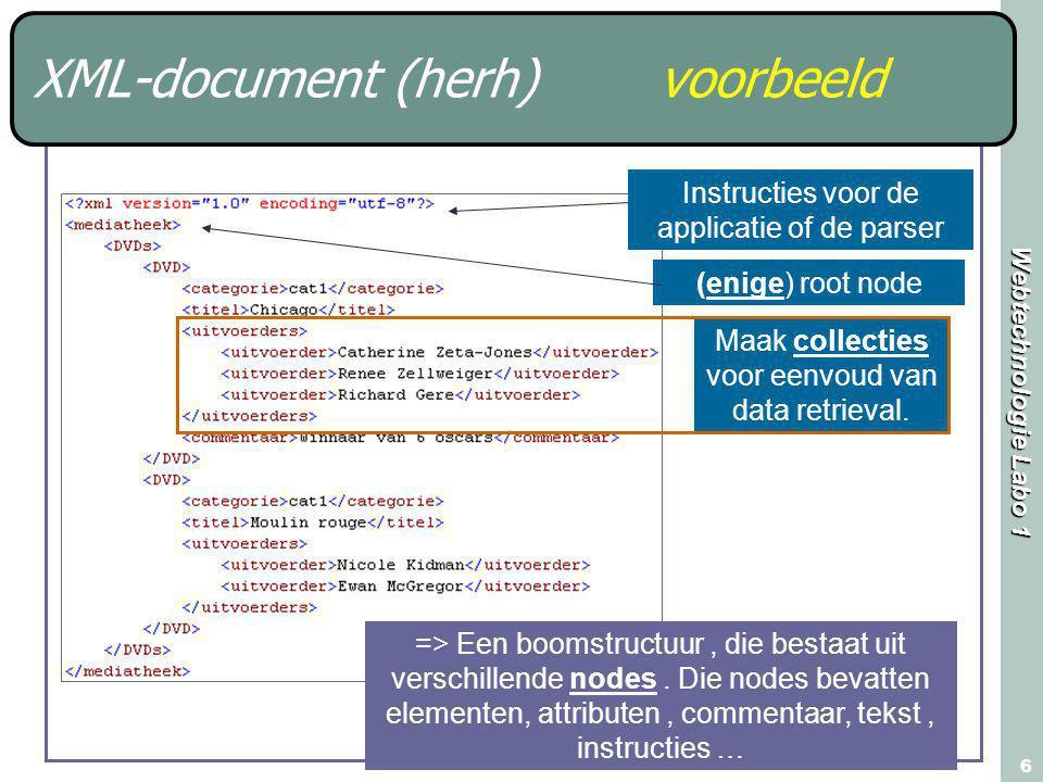 Webtechnologie Labo 1 6 XML-document (herh) voorbeeld Maak collecties voor eenvoud van data retrieval. Instructies voor de applicatie of de parser (en