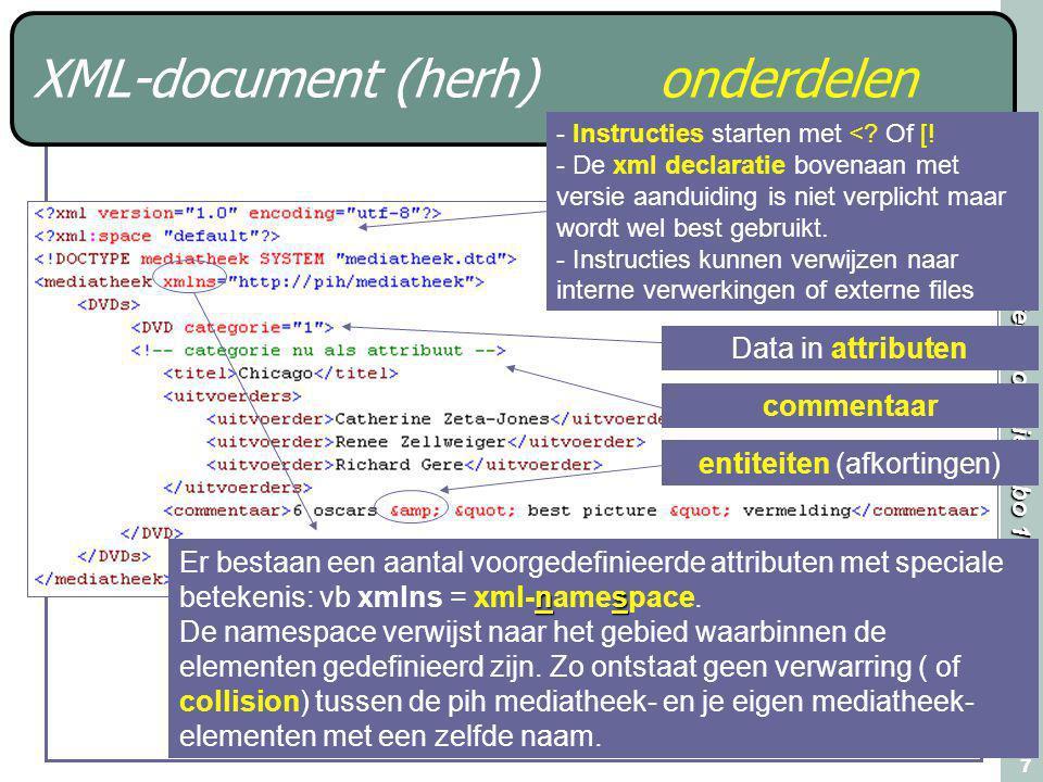 Webtechnologie Labo 1 7 XML-document (herh)onderdelen - Instructies starten met <? Of [! - De xml declaratie bovenaan met versie aanduiding is niet ve