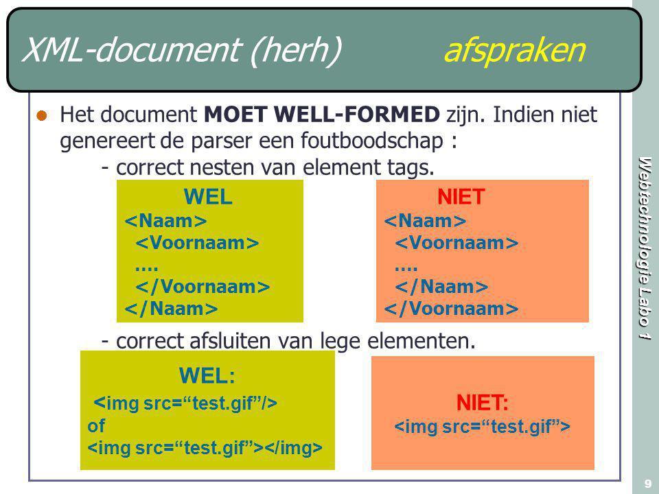 Webtechnologie Labo 1 9 XML-document (herh) afspraken Het document MOET WELL-FORMED zijn. Indien niet genereert de parser een foutboodschap : - correc