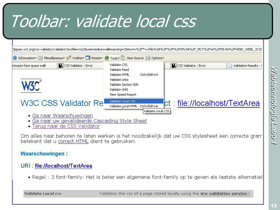 Webtechnologie Labo 1 13 Toolbar: validate local css