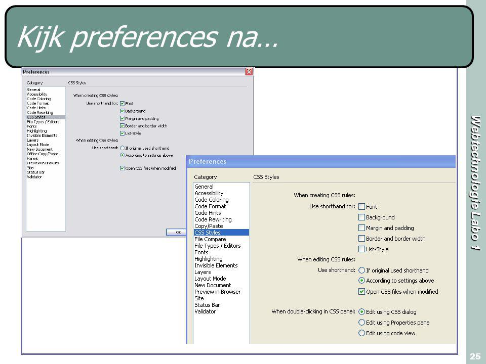 Webtechnologie Labo 1 25 Kijk preferences na…