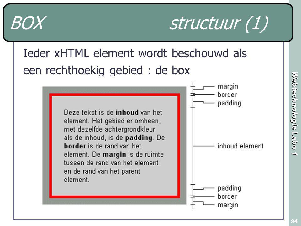 Webtechnologie Labo 1 34 BOX structuur (1) Ieder xHTML element wordt beschouwd als een rechthoekig gebied : de box