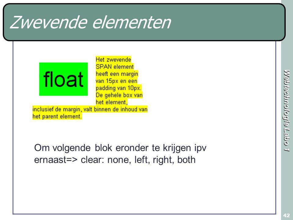 Webtechnologie Labo 1 42 Om volgende blok eronder te krijgen ipv ernaast=> clear: none, left, right, both Zwevende elementen