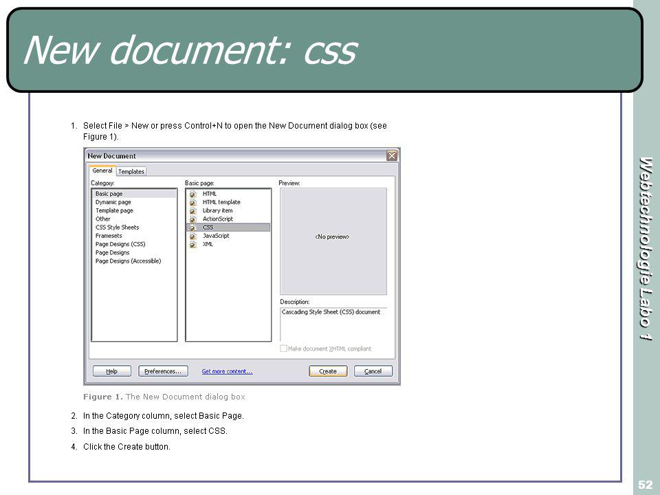 Webtechnologie Labo 1 52 New document: css