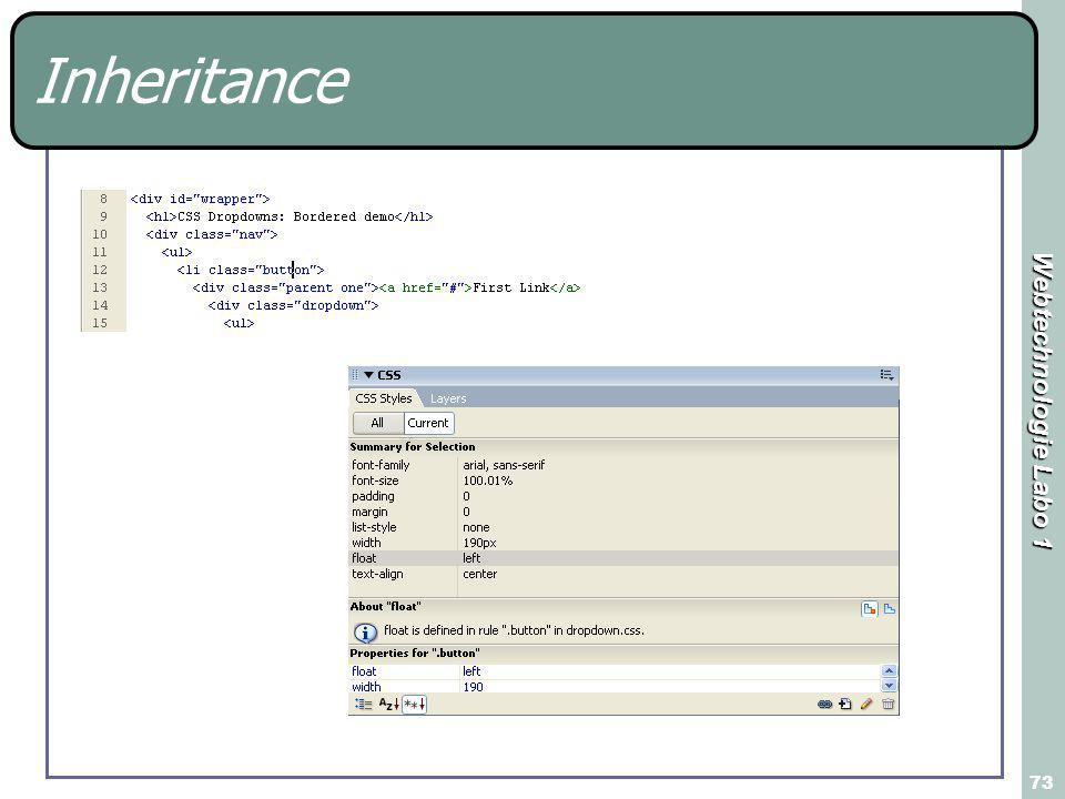 Webtechnologie Labo 1 73 Inheritance