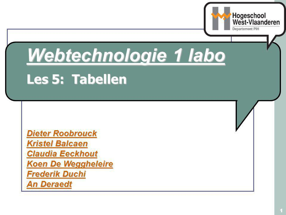 Webtechnologie Labo 1 2 Inhoud: Les 5 Inleiding op tabellen Elementen Tabellen Borders in xHTML / CSS Tabelopmaak Cellen groeperen Complexe tabellen Rijen en kolommen groeperen Opmaak van tabel- en celranden