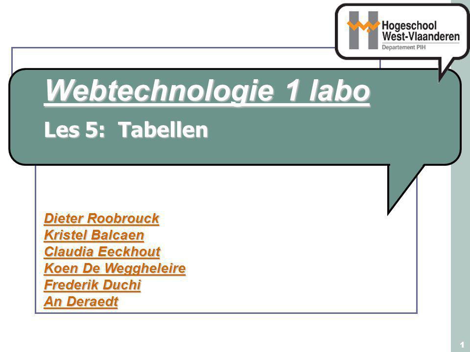 Webtechnologie 1 labo Dieter Roobrouck Kristel Balcaen Claudia Eeckhout Koen De Weggheleire Frederik Duchi An Deraedt 1 Les 5: Tabellen