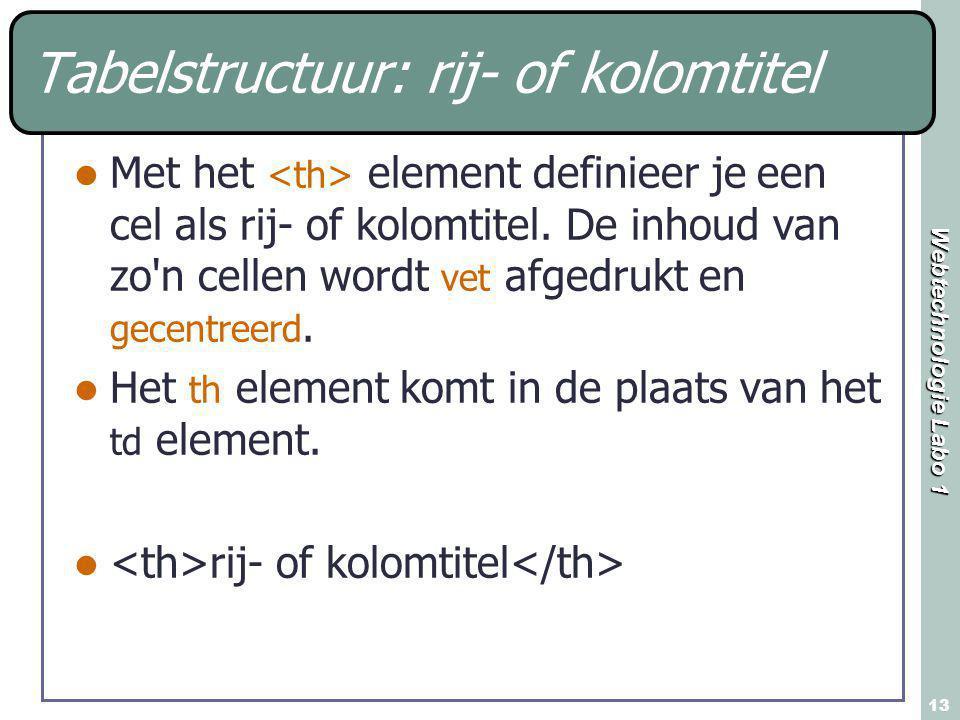 Webtechnologie Labo 1 13 Met het element definieer je een cel als rij- of kolomtitel. De inhoud van zo'n cellen wordt vet afgedrukt en gecentreerd. He
