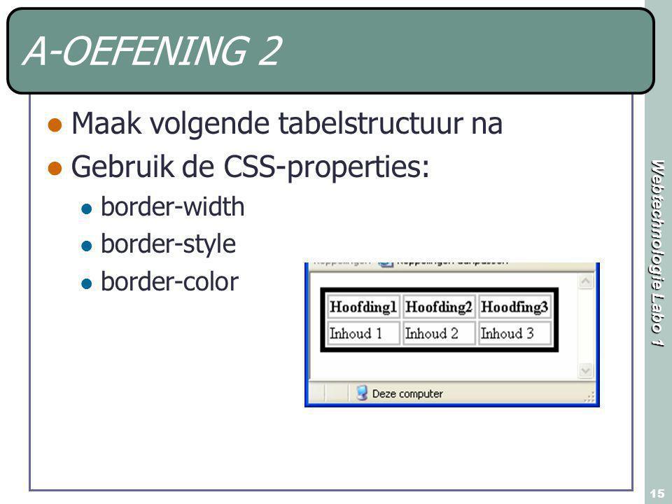 Webtechnologie Labo 1 15 A-OEFENING 2 Maak volgende tabelstructuur na Gebruik de CSS-properties: border-width border-style border-color