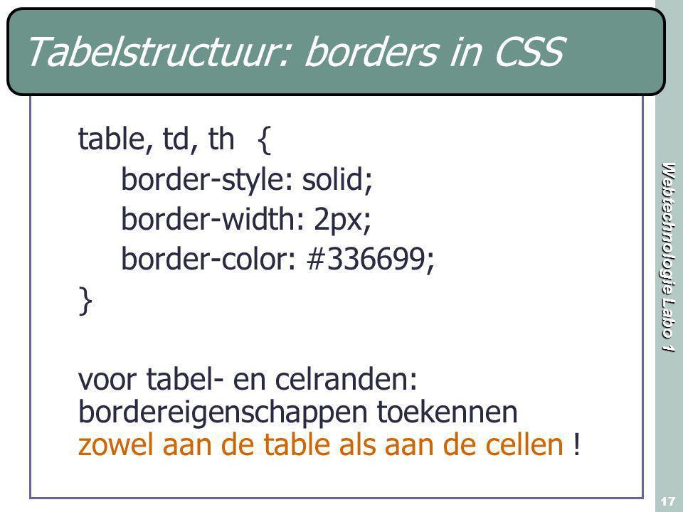 Webtechnologie Labo 1 17 table, td, th { border-style: solid; border-width: 2px; border-color: #336699; } voor tabel- en celranden: bordereigenschappe