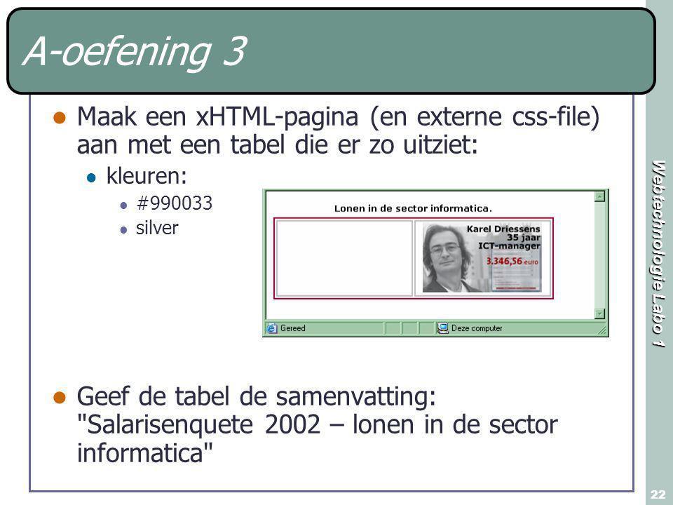 Webtechnologie Labo 1 22 A-oefening 3 Maak een xHTML-pagina (en externe css-file) aan met een tabel die er zo uitziet: kleuren: #990033 silver Geef de