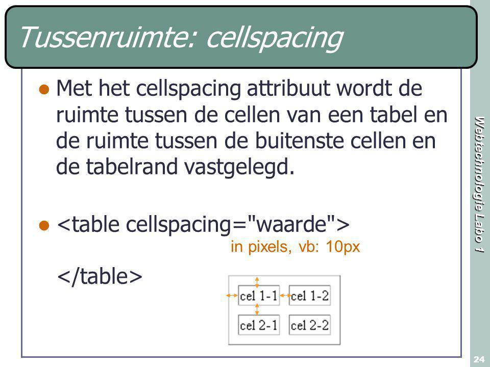 Webtechnologie Labo 1 24 Tussenruimte: cellspacing Met het cellspacing attribuut wordt de ruimte tussen de cellen van een tabel en de ruimte tussen de buitenste cellen en de tabelrand vastgelegd.