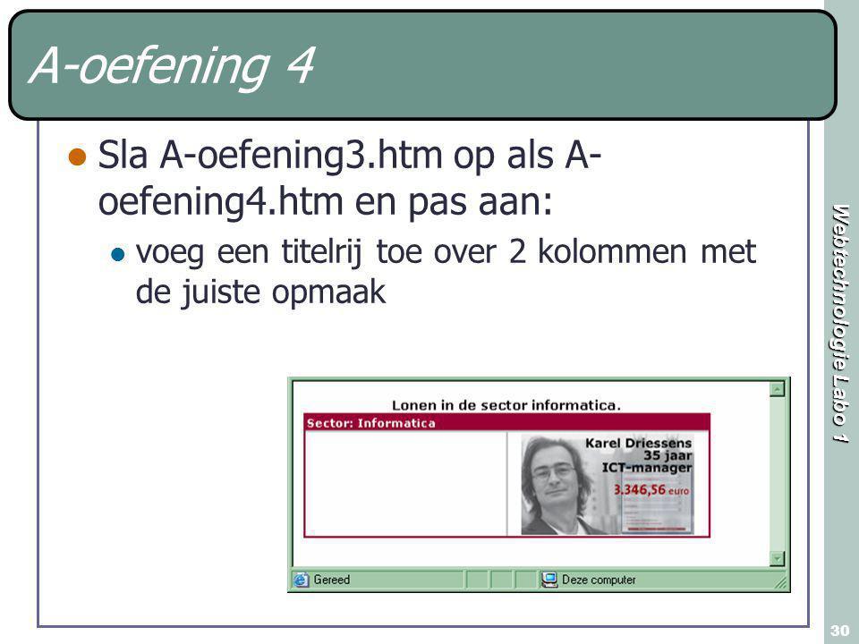 Webtechnologie Labo 1 30 A-oefening 4 Sla A-oefening3.htm op als A- oefening4.htm en pas aan: voeg een titelrij toe over 2 kolommen met de juiste opma