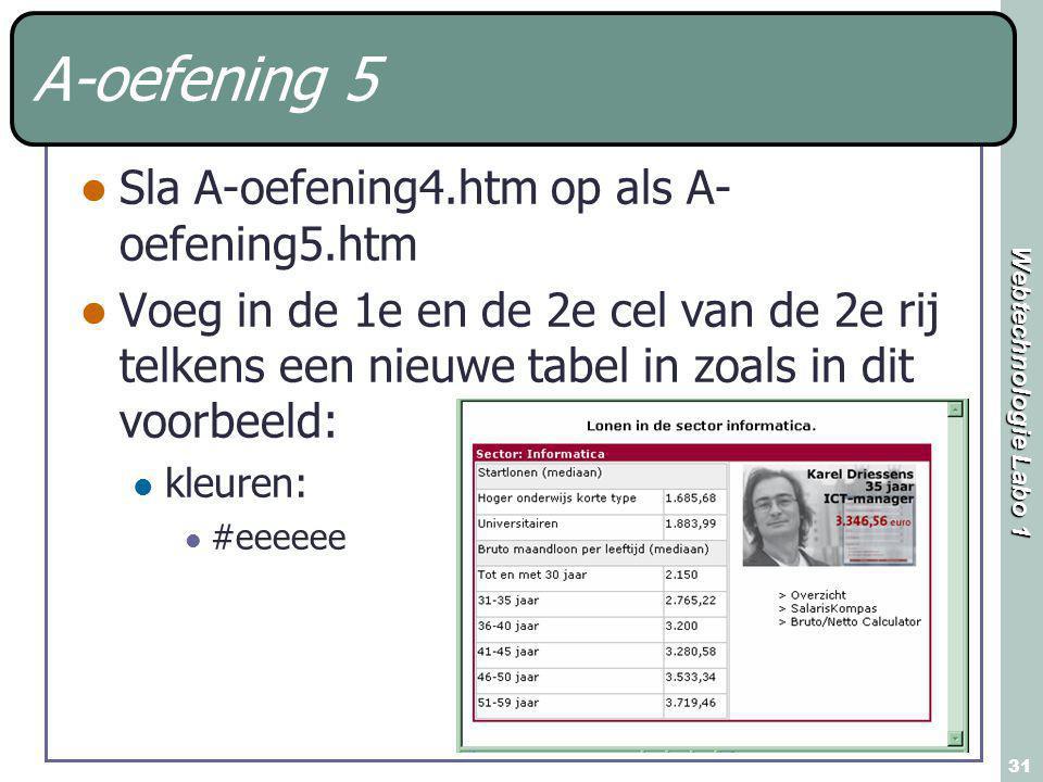 Webtechnologie Labo 1 31 A-oefening 5 Sla A-oefening4.htm op als A- oefening5.htm Voeg in de 1e en de 2e cel van de 2e rij telkens een nieuwe tabel in