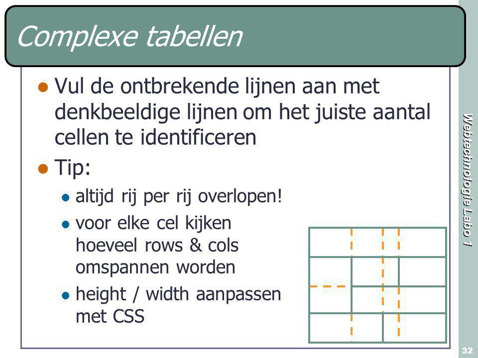 Webtechnologie Labo 1 32 Complexe tabellen Vul de ontbrekende lijnen aan met denkbeeldige lijnen om het juiste aantal cellen te identificeren Tip: alt