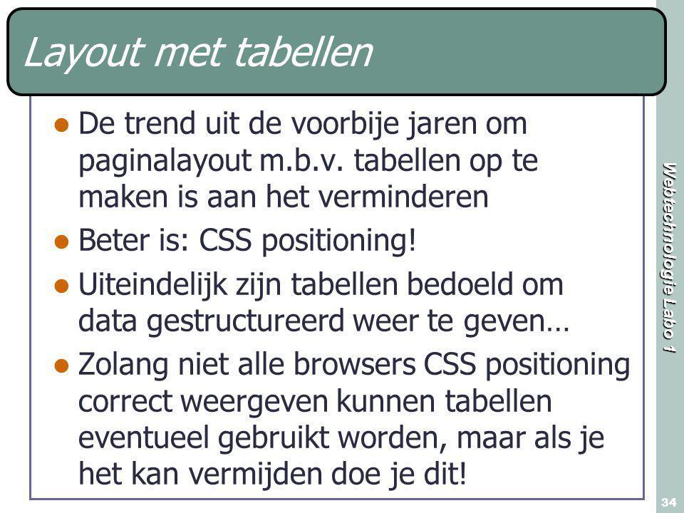 Webtechnologie Labo 1 34 Layout met tabellen De trend uit de voorbije jaren om paginalayout m.b.v. tabellen op te maken is aan het verminderen Beter i
