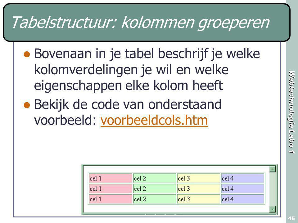 Webtechnologie Labo 1 45 Tabelstructuur: kolommen groeperen Bovenaan in je tabel beschrijf je welke kolomverdelingen je wil en welke eigenschappen elke kolom heeft Bekijk de code van onderstaand voorbeeld: voorbeeldcols.htmvoorbeeldcols.htm