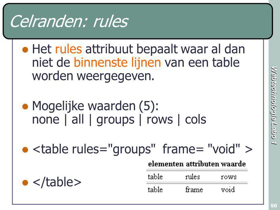Webtechnologie Labo 1 50 Celranden: rules Het rules attribuut bepaalt waar al dan niet de binnenste lijnen van een table worden weergegeven. Mogelijke