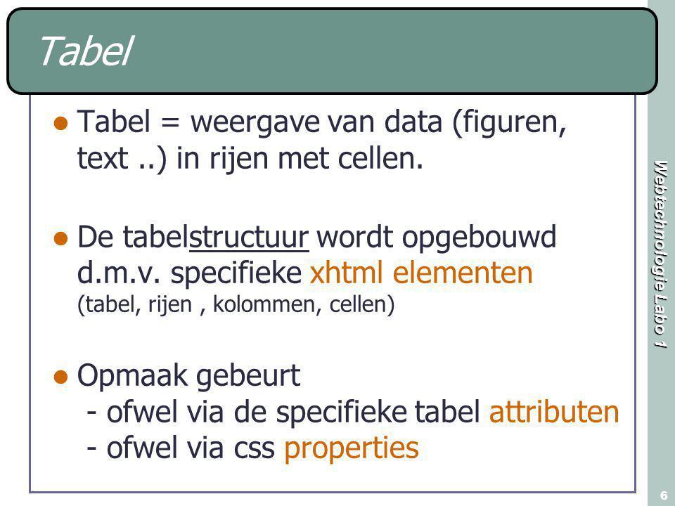 Webtechnologie Labo 1 6 Tabel Tabel = weergave van data (figuren, text..) in rijen met cellen. De tabelstructuur wordt opgebouwd d.m.v. specifieke xht