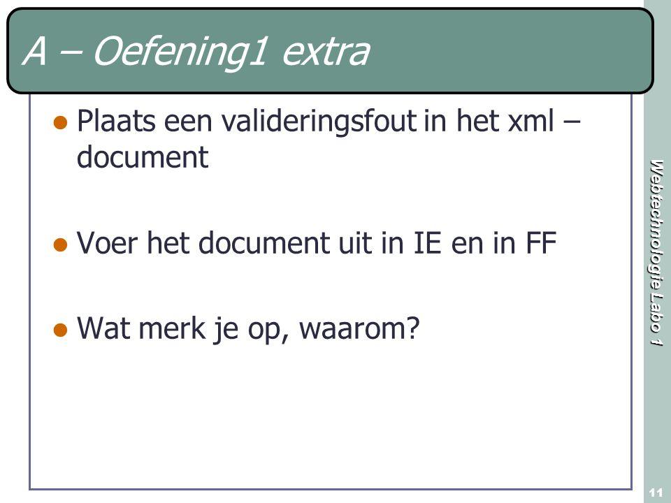 Webtechnologie Labo 1 11 A – Oefening1 extra Plaats een valideringsfout in het xml – document Voer het document uit in IE en in FF Wat merk je op, waa