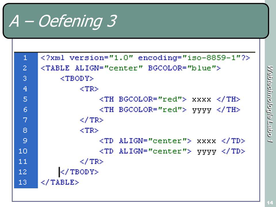 Webtechnologie Labo 1 14 A – Oefening 3