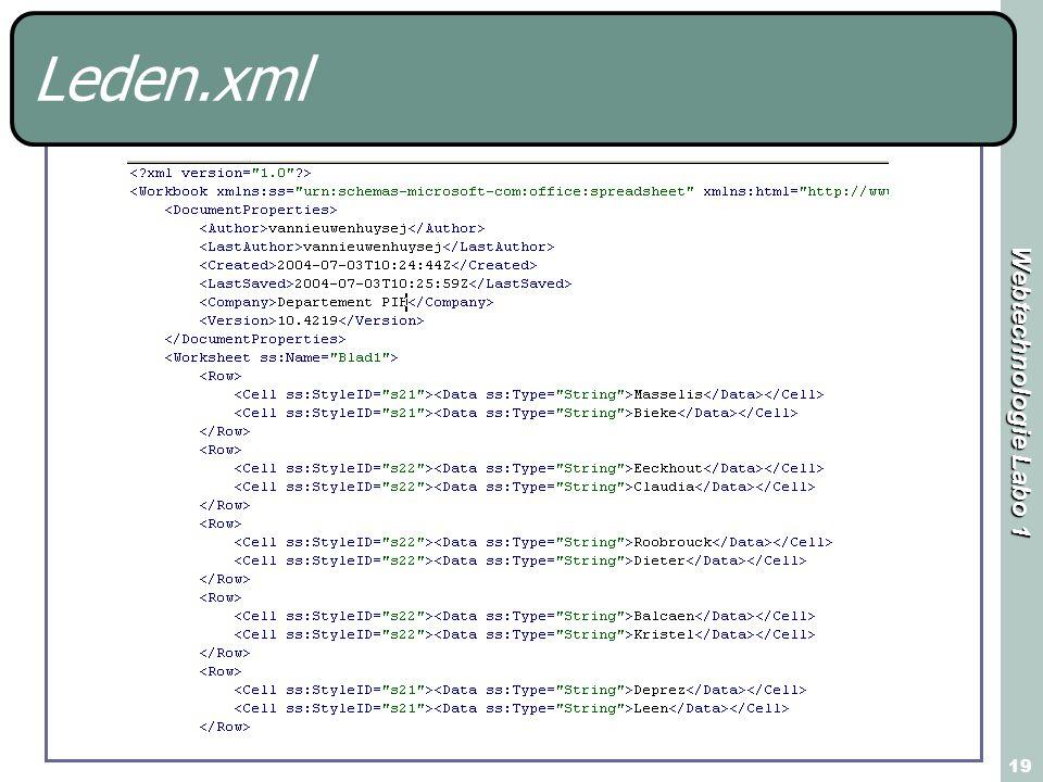Webtechnologie Labo 1 19 Leden.xml