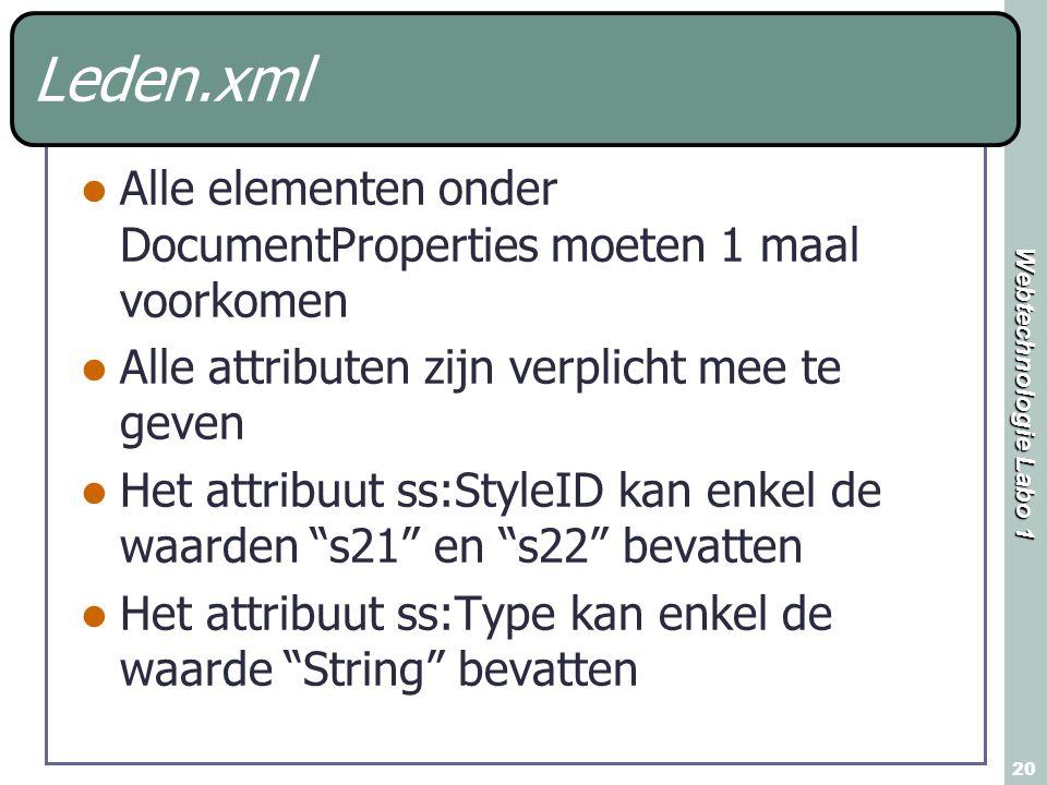 Webtechnologie Labo 1 20 Leden.xml Alle elementen onder DocumentProperties moeten 1 maal voorkomen Alle attributen zijn verplicht mee te geven Het att