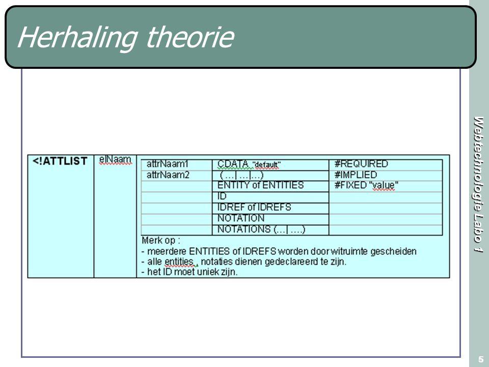 Webtechnologie Labo 1 16 Toepassing mediatheek In de map mediatheek bevinden zich 3 xml bestanden Schrijf voor elk van deze bestanden een DTD in een afzonderlijk bestand Wijzig niets in de oorspronkelijke xml bestanden !!!