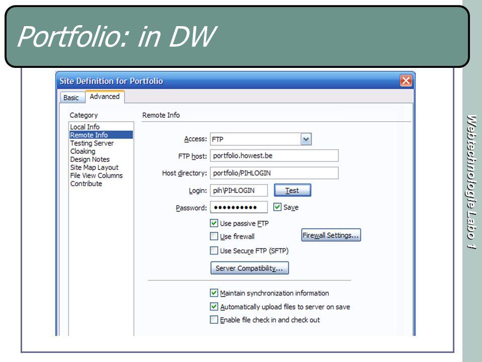 Webtechnologie Labo 1 Portfolio: in DW