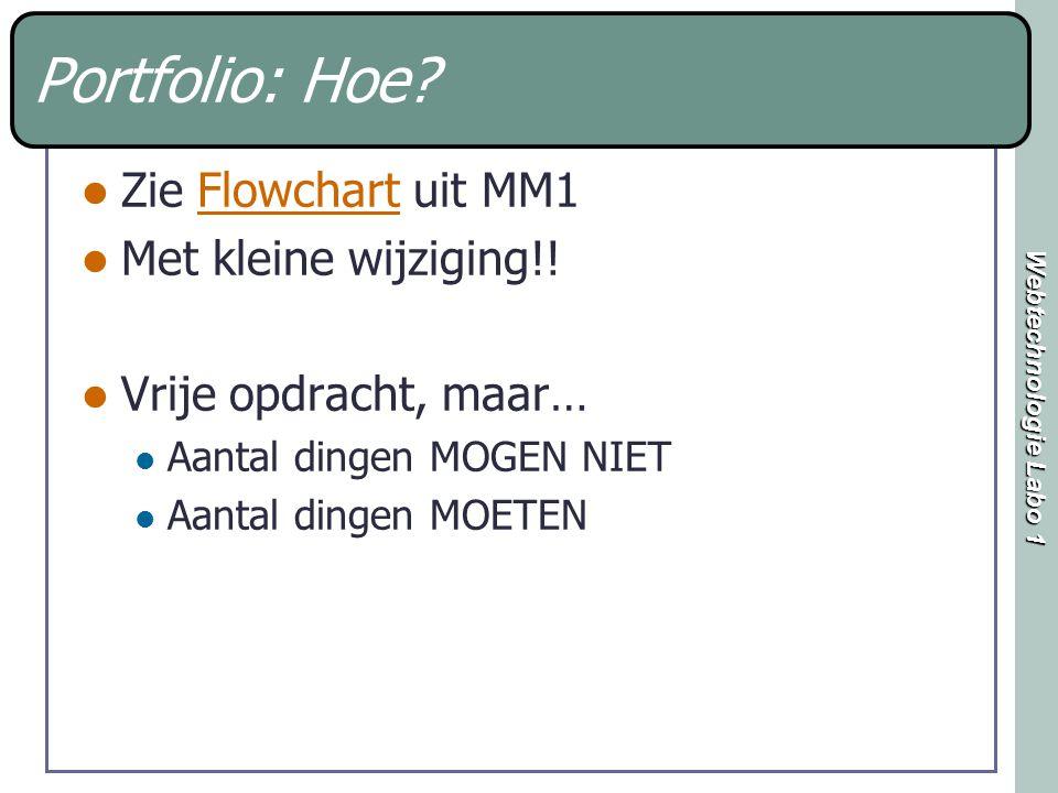 Webtechnologie Labo 1 Portfolio: Hoe? Zie Flowchart uit MM1Flowchart Met kleine wijziging!! Vrije opdracht, maar… Aantal dingen MOGEN NIET Aantal ding