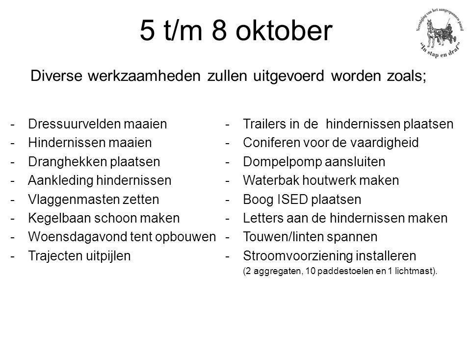 5 t/m 8 oktober Diverse werkzaamheden zullen uitgevoerd worden zoals; -Dressuurvelden maaien -Hindernissen maaien -Dranghekken plaatsen -Aankleding hindernissen -Vlaggenmasten zetten -Kegelbaan schoon maken -Woensdagavond tent opbouwen -Trajecten uitpijlen -Trailers in de hindernissen plaatsen -Coniferen voor de vaardigheid -Dompelpomp aansluiten -Waterbak houtwerk maken -Boog ISED plaatsen -Letters aan de hindernissen maken -Touwen/linten spannen -Stroomvoorziening installeren (2 aggregaten, 10 paddestoelen en 1 lichtmast).