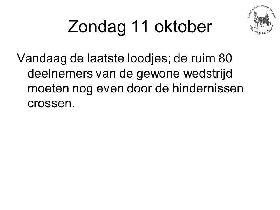 Zondag 11 oktober Vandaag de laatste loodjes; de ruim 80 deelnemers van de gewone wedstrijd moeten nog even door de hindernissen crossen.