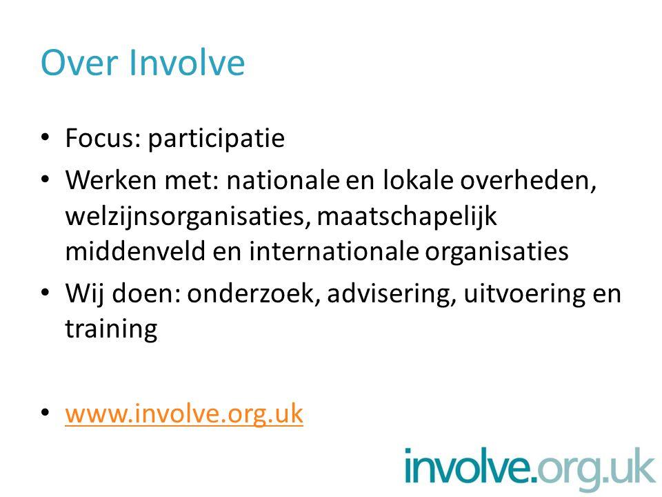 Over Involve Focus: participatie Werken met: nationale en lokale overheden, welzijnsorganisaties, maatschapelijk middenveld en internationale organisaties Wij doen: onderzoek, advisering, uitvoering en training www.involve.org.uk