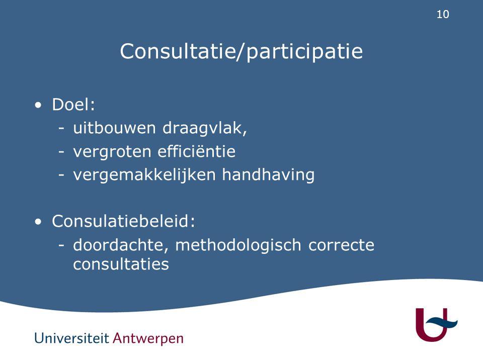 10 Consultatie/participatie Doel: -uitbouwen draagvlak, -vergroten efficiëntie -vergemakkelijken handhaving Consulatiebeleid: -doordachte, methodologi