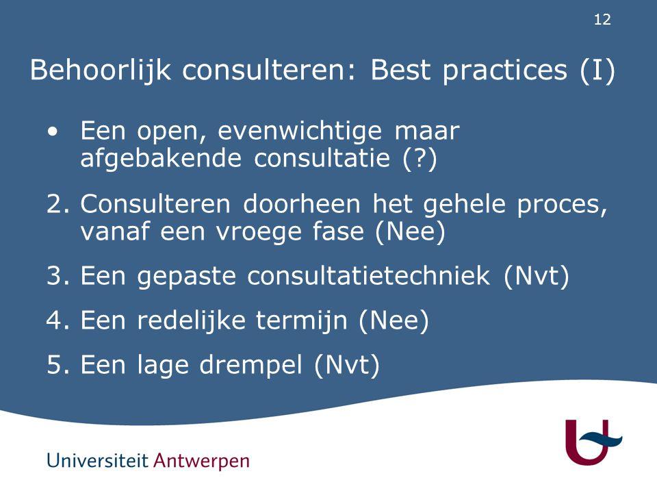 12 Behoorlijk consulteren: Best practices (I) Een open, evenwichtige maar afgebakende consultatie (?) 2. Consulteren doorheen het gehele proces, vanaf