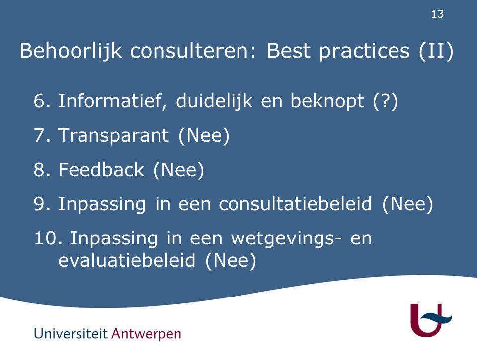 13 Behoorlijk consulteren: Best practices (II) 6. Informatief, duidelijk en beknopt (?) 7. Transparant (Nee) 8. Feedback (Nee) 9. Inpassing in een con