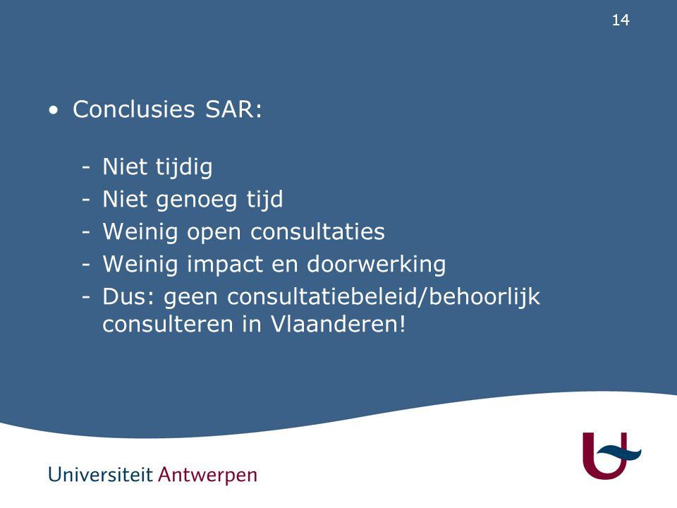 14 Conclusies SAR: -Niet tijdig -Niet genoeg tijd -Weinig open consultaties -Weinig impact en doorwerking -Dus: geen consultatiebeleid/behoorlijk cons