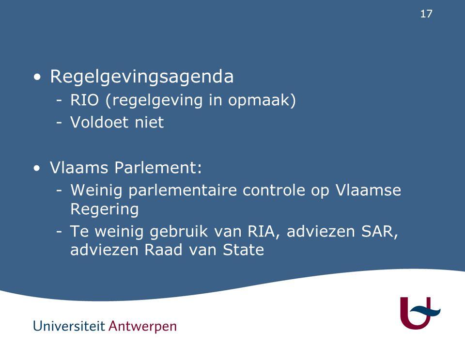 17 Regelgevingsagenda -RIO (regelgeving in opmaak) -Voldoet niet Vlaams Parlement: -Weinig parlementaire controle op Vlaamse Regering -Te weinig gebru