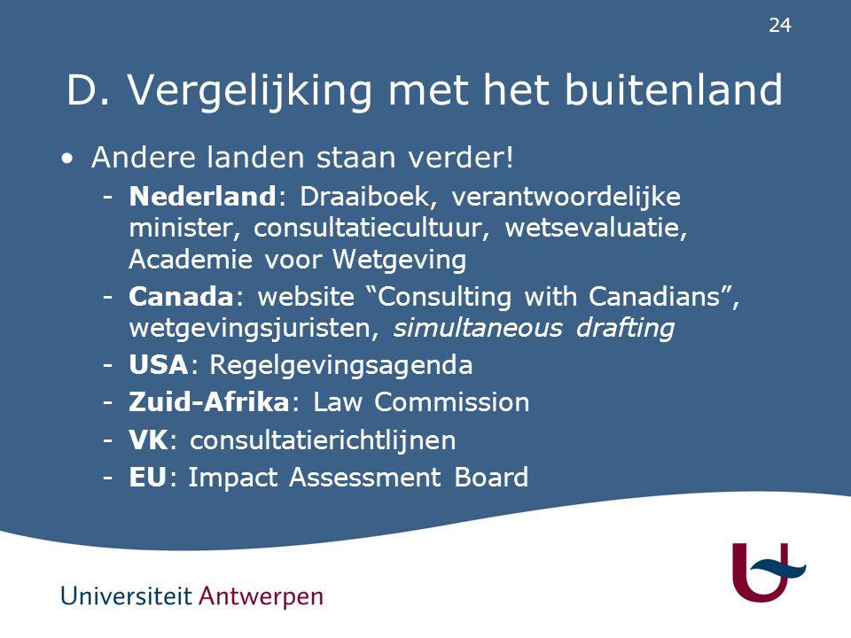 24 D. Vergelijking met het buitenland Andere landen staan verder! -Nederland: Draaiboek, verantwoordelijke minister, consultatiecultuur, wetsevaluatie