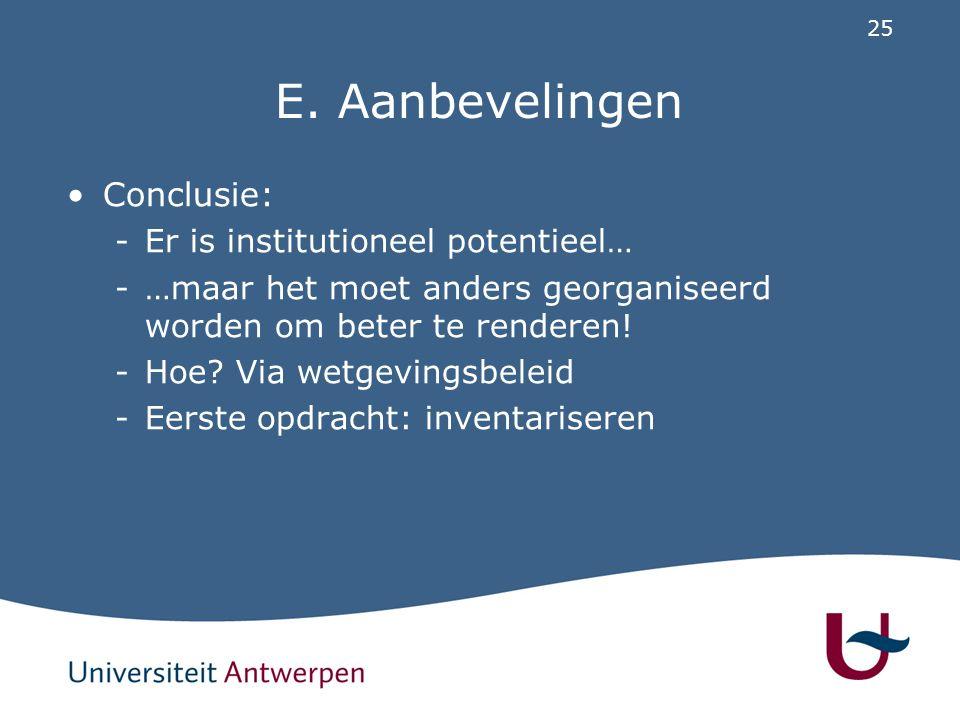 25 E. Aanbevelingen Conclusie: -Er is institutioneel potentieel… -…maar het moet anders georganiseerd worden om beter te renderen! -Hoe? Via wetgeving