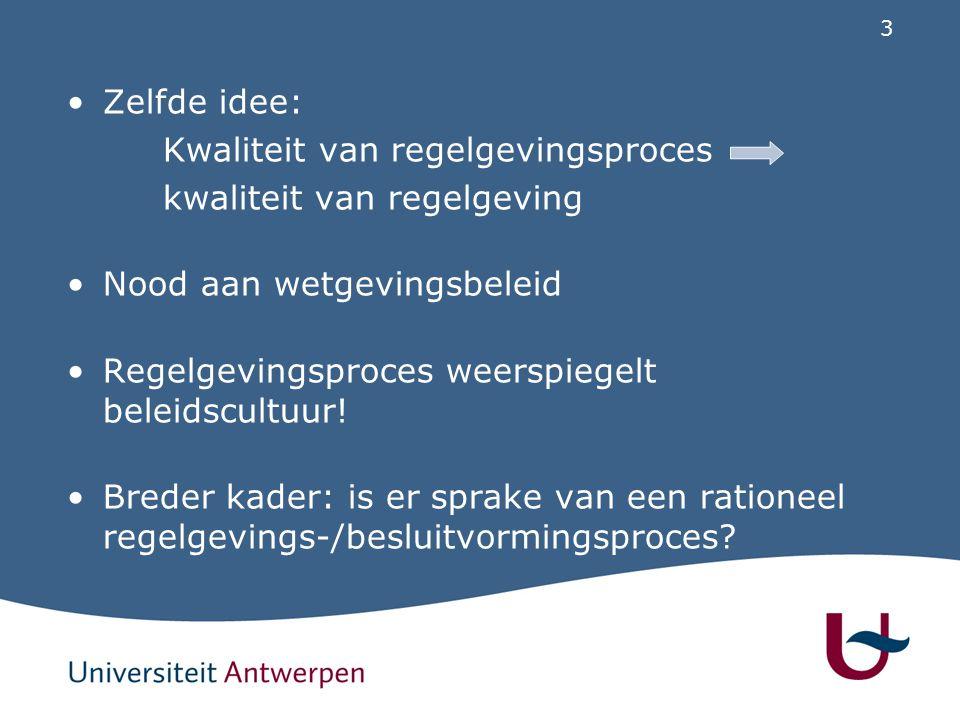 3 Zelfde idee: Kwaliteit van regelgevingsproces kwaliteit van regelgeving Nood aan wetgevingsbeleid Regelgevingsproces weerspiegelt beleidscultuur! Br