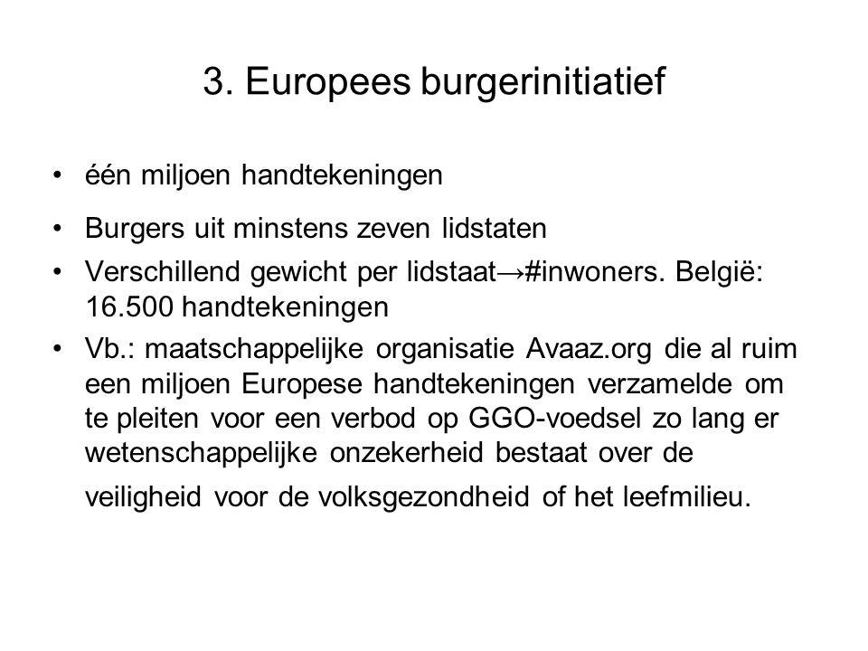 3. Europees burgerinitiatief één miljoen handtekeningen Burgers uit minstens zeven lidstaten Verschillend gewicht per lidstaat→ #inwoners. België: 16.