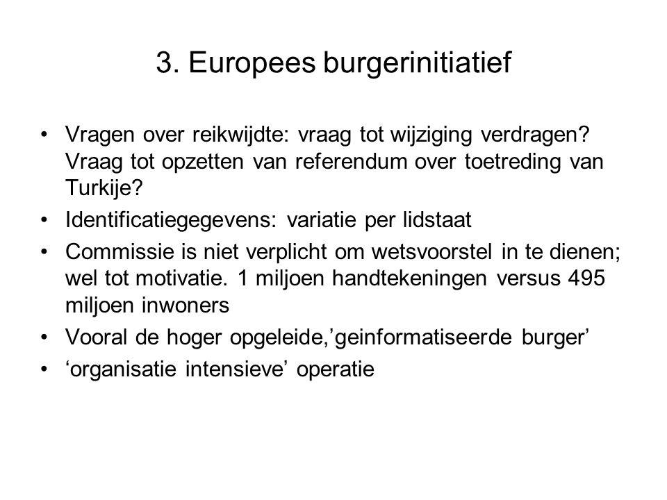 3.Europees burgerinitiatief Vragen over reikwijdte: vraag tot wijziging verdragen.