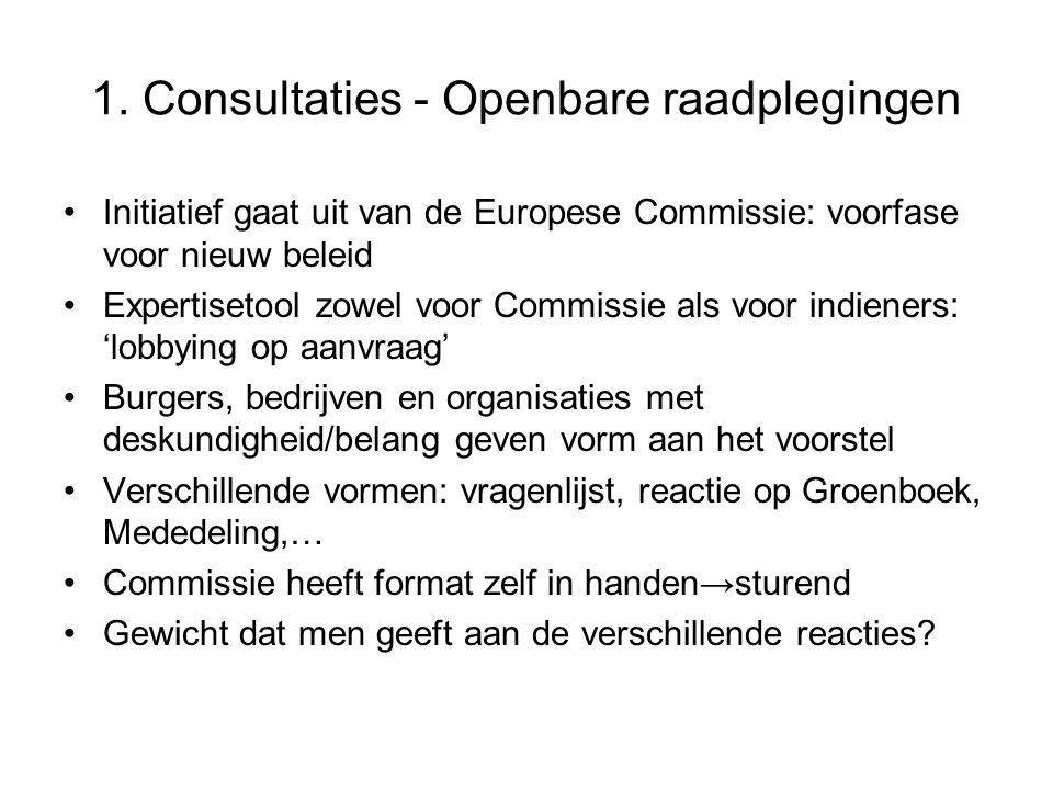 1. Consultaties - Openbare raadplegingen Initiatief gaat uit van de Europese Commissie: voorfase voor nieuw beleid Expertisetool zowel voor Commissie