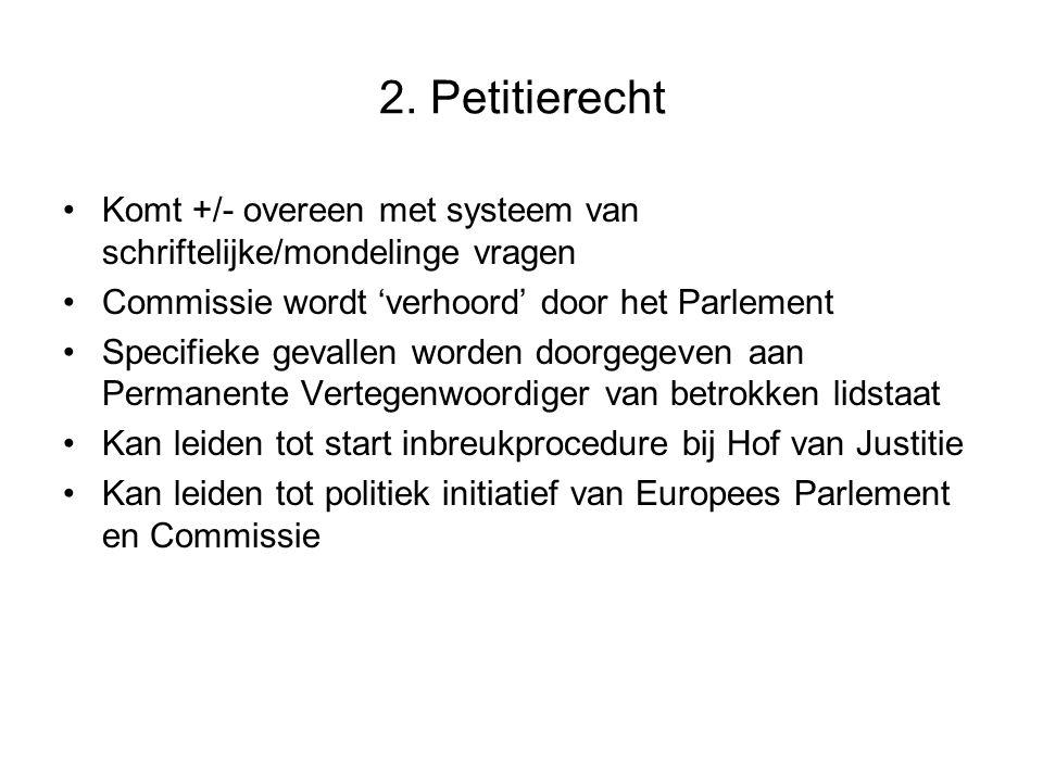 2. Petitierecht Komt +/- overeen met systeem van schriftelijke/mondelinge vragen Commissie wordt 'verhoord' door het Parlement Specifieke gevallen wor