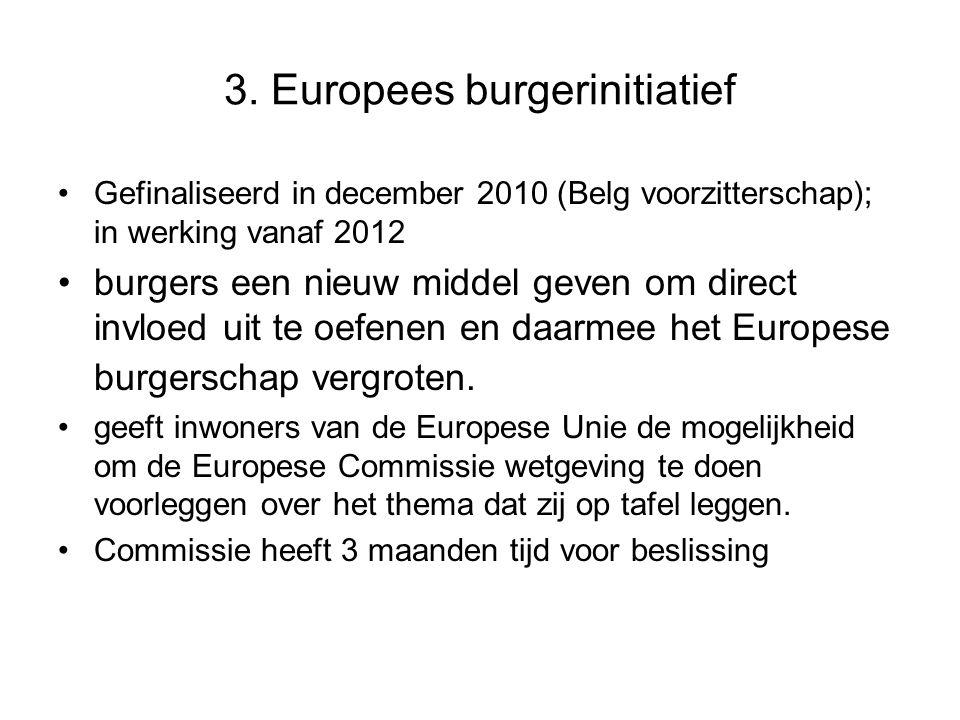 3. Europees burgerinitiatief Gefinaliseerd in december 2010 (Belg voorzitterschap); in werking vanaf 2012 burgers een nieuw middel geven om direct inv