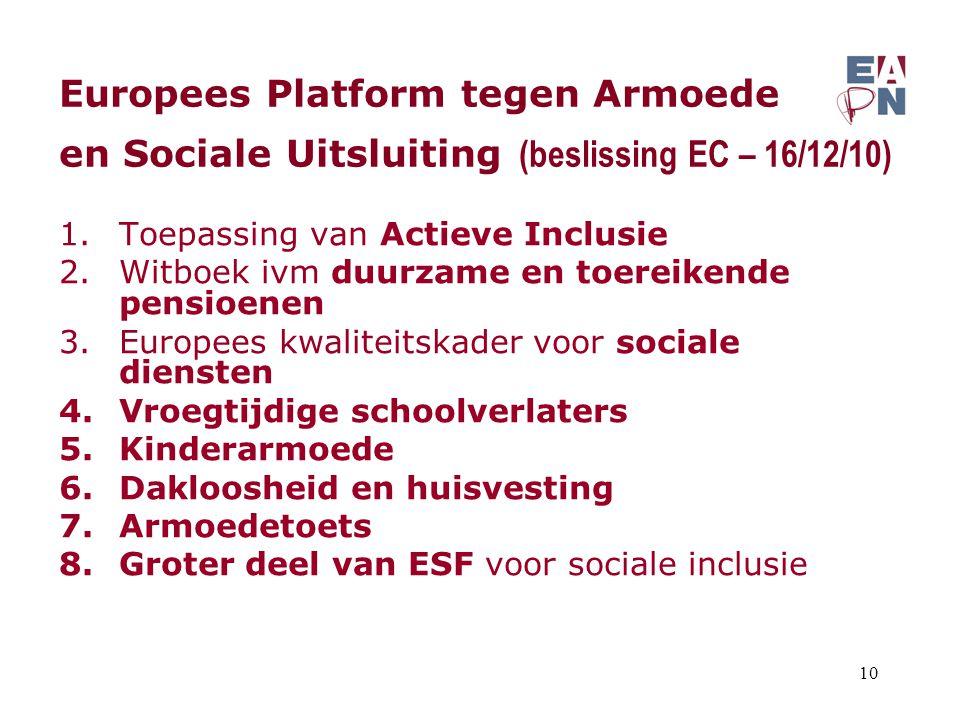 Europees Platform tegen Armoede en Sociale Uitsluiting (beslissing EC – 16/12/10) 1.Toepassing van Actieve Inclusie 2.Witboek ivm duurzame en toereikende pensioenen 3.Europees kwaliteitskader voor sociale diensten 4.Vroegtijdige schoolverlaters 5.Kinderarmoede 6.Dakloosheid en huisvesting 7.Armoedetoets 8.Groter deel van ESF voor sociale inclusie 10