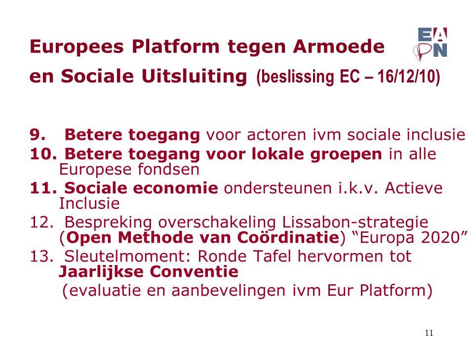 Europees Platform tegen Armoede en Sociale Uitsluiting (beslissing EC – 16/12/10) 9. Betere toegang voor actoren ivm sociale inclusie 10. Betere toega