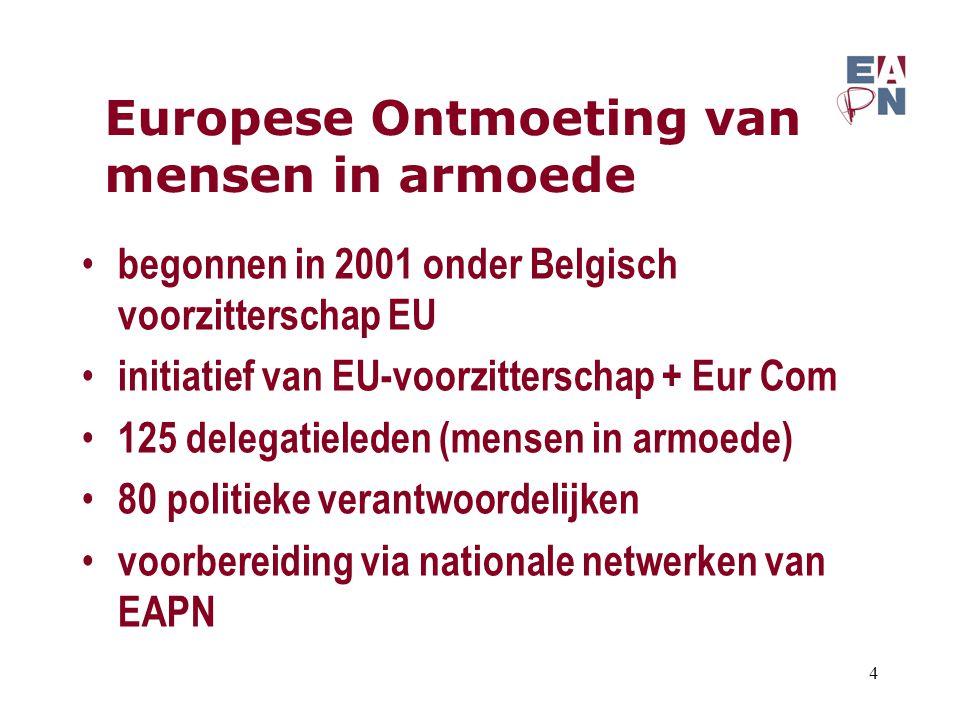 Europese Ontmoeting van mensen in armoede begonnen in 2001 onder Belgisch voorzitterschap EU initiatief van EU-voorzitterschap + Eur Com 125 delegatie