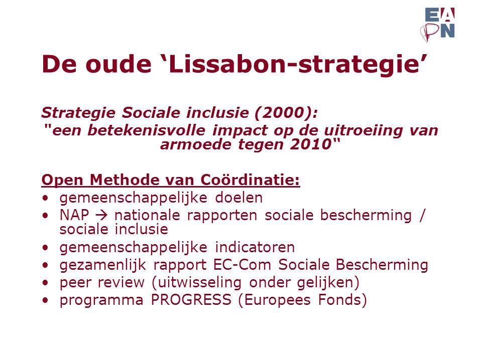 De oude 'Lissabon-strategie' Strategie Sociale inclusie (2000): een betekenisvolle impact op de uitroeiing van armoede tegen 2010 Open Methode van Coördinatie: gemeenschappelijke doelen NAP  nationale rapporten sociale bescherming / sociale inclusie gemeenschappelijke indicatoren gezamenlijk rapport EC-Com Sociale Bescherming peer review (uitwisseling onder gelijken) programma PROGRESS (Europees Fonds)
